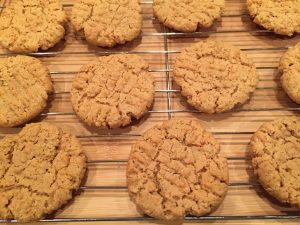 peanut butter cookies on cooking rack